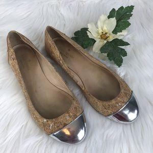 Kate Spade Flats SZ 7.5 M Silver Toe Tan Leather